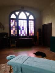 I am also a reiki practitioner, here is my studio set up in a beautiful church sanctuary that I call home.  Zula is already taking her reiki nap!