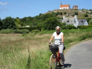 Sylvie riding a bicycle