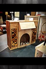 My faux fireplace/desk (modular furniture) at a design show
