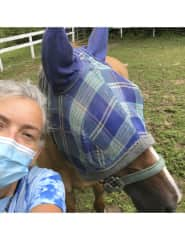 Mask matching at the horse rescue farm