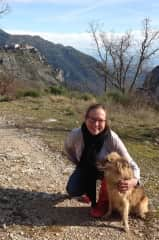 Cora and Jasper on a walk near Gourdon