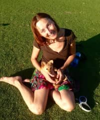 Playing with Senna in Kings park Perth, Western Australia