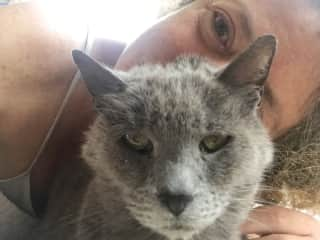 me and my cat, Paloma who is almost 15 years old.