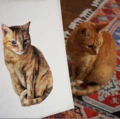 Pineau the cat and my painting of her