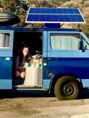 Ali and Taco in their 1984 Off Grid camper van