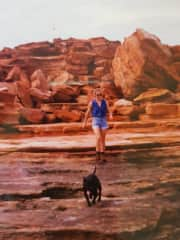 Shoei and me on a holiday road trip in the Kimberley, Western Australia