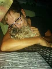 Maggie and I enjoying my blacony on a summer night