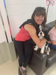 Eleanor with Dolly at doggy day care.