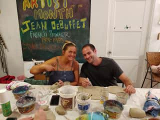 Sophia and Mike taking a pottery class