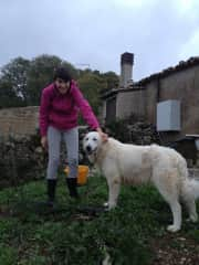 Telma and Melisa while working in the garden and doing the horse feeding round in Sicily.