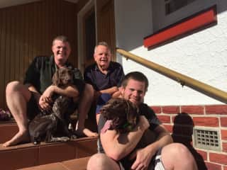 Malcolm with our boys and their dogs.