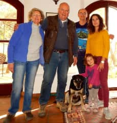 Our family with homeowners in Spain during housesit with a big dog Anka