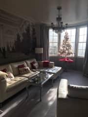 Family room at christmas