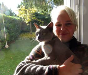 Sylvie with Brownie, the cat