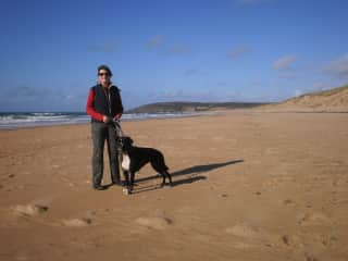 Joanne with boxer Gabie on the Normandy beach