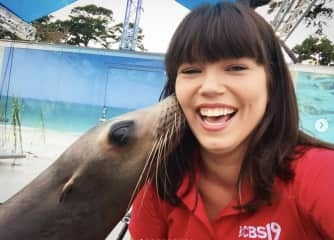 Darcy Dolittle w/ a rescued sea lion