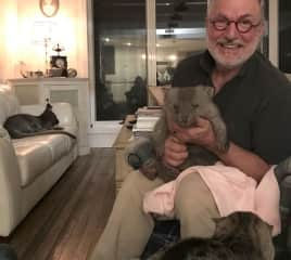 Jean-Luc with rescued wombat, recuperating wallaby