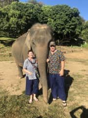 No pet to large or small, this is us at an elephant sanctuary in Chaing Mai Thai,and