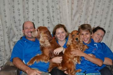 The family, with our Golden Cocker Spaniels Floyd and Holly