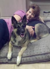 Me and my former partner's dog Shayna.