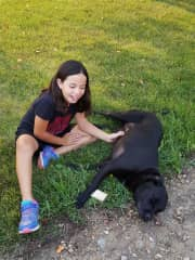 Marissa with a dog we met in our travels.