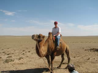 Riding a camel in Mongolia :-)