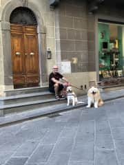 Hanging out with Bodhi and Charlie in San Casciano, Tuscany, Italy