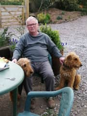 First house-sitter John with Elmer and Tulip. Elmer on right.