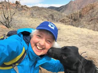 """Finn and I on a hike. He has a hard time holding his """"licker"""""""