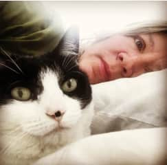 Me and my snuggly cat Cora.