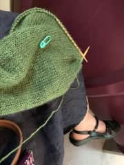Knitting on a train
