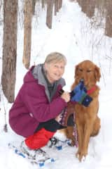 Snow shoeing at home with Mike the dog last winter.