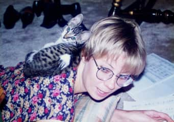 Vicki and Mouse, another kitty from her youth.  She always wanted to sit on you, no matter what!