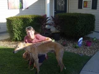 Suzanne & Seamus the greyhound in The Villages