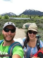 Lorry and Kelli (Jasmine is sleeping on Lorry's back carrier) Hiking Grand Teton National Park