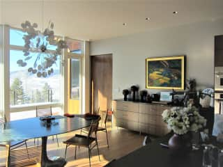 Dining area adjacent to gourmet kitchen .