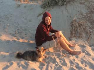Sam and Leeloo enjoying the sunset