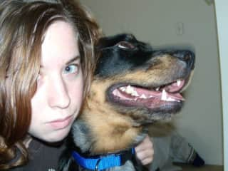 With my dog Maggie at university, USA
