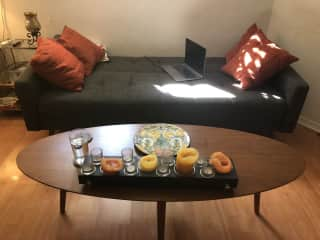same couch with coffee table