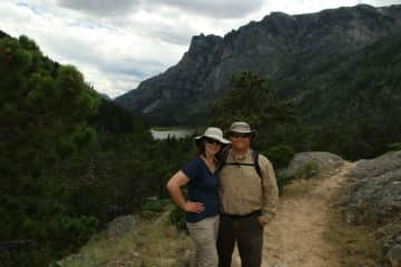 Aubrey and Justin hiking in Montana