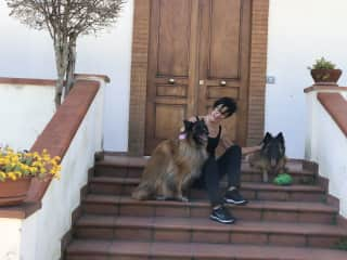 Belinda with Odin and Gaia in Naples, Italy