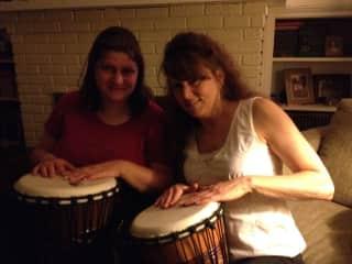 I'm on the right.  I love to beat on the drum in drum circles.