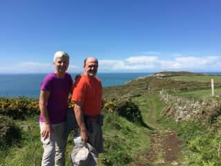 Marlene and Don hiking England's SW Coast Path