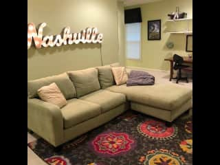 """The """"man cave"""" off of the guest room and bathroom."""