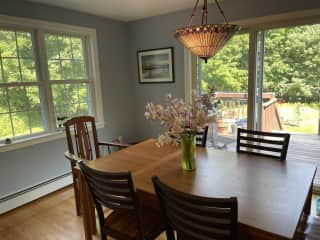 Dining room with deck / backyard