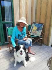 Sandy with foster dog Zara