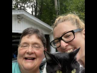 This is Rhoda & I trying to take a selfie with Quincy - he wasn't so impressed with us getting the giggles