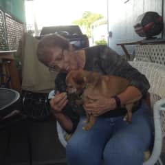 Vickie with Dino who normally doesn't let anyone hold him!