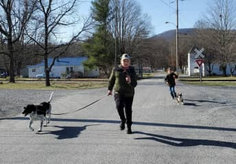 Joseph and Jordan and I taking Duckie and Lucy for a walk.