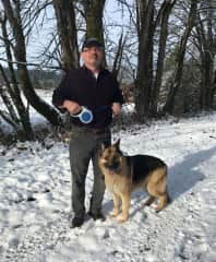 Here's Bruce with Anne's parents' dog on a snowy walk.